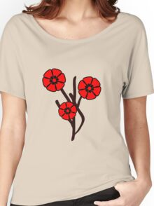 Three red flowers Women's Relaxed Fit T-Shirt