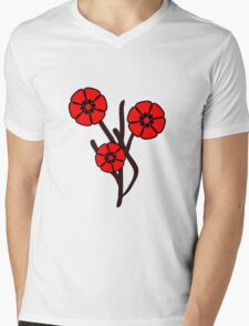 Three red flowers Mens V-Neck T-Shirt
