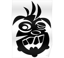 Awesome Crazy Dog Face (Black) Poster