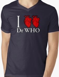 I Heart Heart Dr Who Mens V-Neck T-Shirt