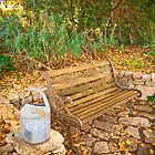 The empty bench at Black Springs Bakery, Beechworth by Elana Bailey