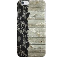 rustic chic modern girly gray barn wood black lace iPhone Case/Skin