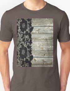 rustic chic modern girly gray barn wood black lace T-Shirt