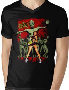 Zombie Killer Cheerleader Mens V-Neck T-Shirt