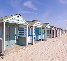 Pastel stripey beach hut love *1* by Zoe Power