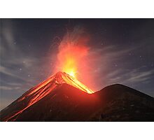 Fuego Erupts on a Moonlit Night Photographic Print