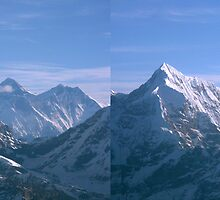 Mount Everest and Lhotse through the Pass by Richard Heath