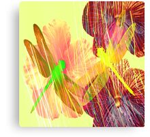 Dragonflies and Flowers Canvas Print