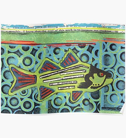 Funky Beach Green Fish Poster