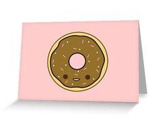 Yummy kawaii brown doughnut Greeting Card