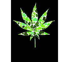 Love and Weed - Love and Pot - Weed leaf with green hearts Photographic Print