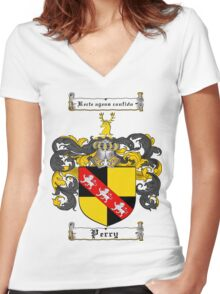 Perry Family Crest / Perry Coat of Arms T-Shirt Women's Fitted V-Neck T-Shirt