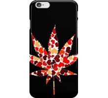 Love and Weed - Cannabis leaf with hearts iPhone Case/Skin