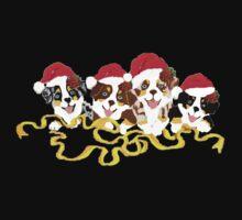 4 Cute Puppies Seasons Greetings Baby Tee