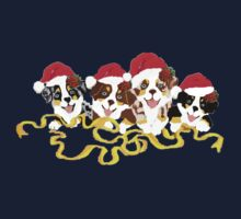 4 Cute Puppies Seasons Greetings Kids Tee