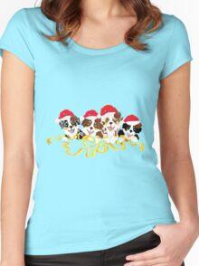 4 Cute Puppies Seasons Greetings Women's Fitted Scoop T-Shirt