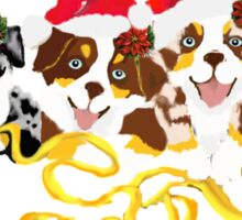 4 Cute Puppies Seasons Greetings Sticker