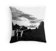 stormy washing line Throw Pillow