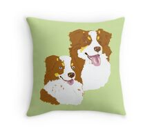 Red Tri Australian Shepherd Pair Throw Pillow