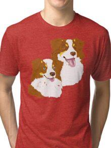 Red Tri Australian Shepherd Pair Tri-blend T-Shirt