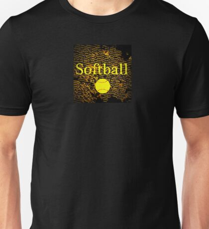 Softball in Yellow, Brown, and Black Unisex T-Shirt
