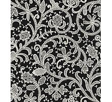 Lace Black Background. Seamless Pattern. Photographic Print