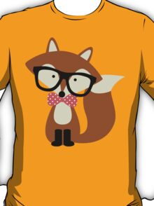 Red Bow Tie Hipster Fox T-Shirt