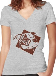 Power to the Pit Bull Women's Fitted V-Neck T-Shirt