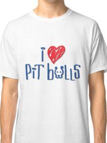 I Love Pit Bulls (Light Colors) Classic T-Shirt