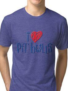 I Love Pit Bulls (Light Colors) Tri-blend T-Shirt