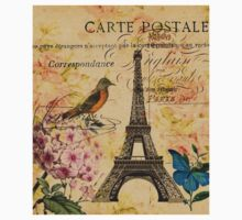 vintage eiffel tower floral bird butterfly fashion Kids Tee