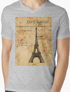 vintage floral retro  paris eiffel tower Mens V-Neck T-Shirt