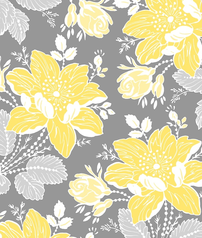 """Yellow And Gray Floral Pattern """"Yellow Grey Flow..."""