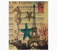 music notes ocean seashells vintage eiffel tower  Kids Clothes