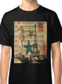 music notes ocean seashells vintage eiffel tower  Classic T-Shirt