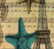 music notes ocean seashells vintage eiffel tower  Sticker