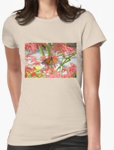 Monarch Among The Red Leaves Womens Fitted T-Shirt