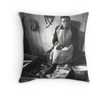 Fish seller in Greece Throw Pillow