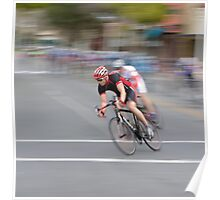 Cyclists Speeding into the Curve Poster