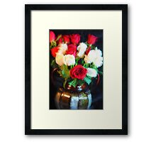 Red and White Roses in a Vase Framed Print