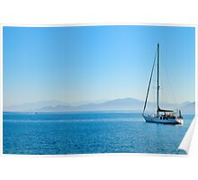 white sailboat in a blue lagoon Poster