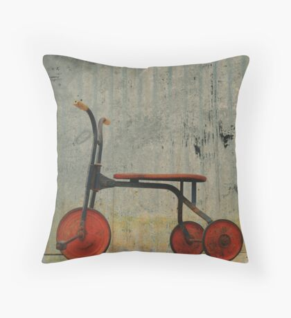 Little Red Trike Throw Pillow