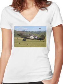 Warhawk with Magpies Women's Fitted V-Neck T-Shirt