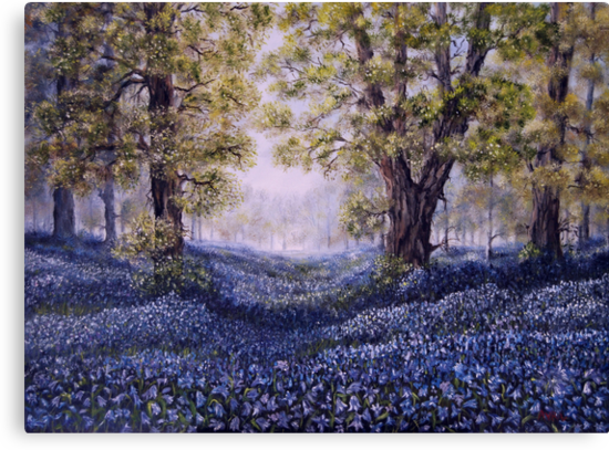 """""""Mary's Bluebells"""" - oil painting by Avril Brand"""