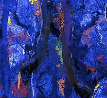 Abstract Trees, Moss and Branches in Blues With Accents of Other Colors by Ivana Redwine