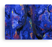 Abstract Trees, Moss and Branches in Blues With Accents of Other Colors Canvas Print
