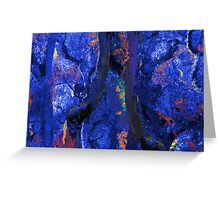 Abstract Trees, Moss and Branches in Blues With Accents of Other Colors Greeting Card
