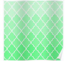 Trendy chic turquoise classic Quatrefoil Pattern Poster