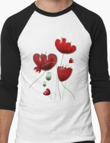 Poppy red granate sexy landscape summer france bloom garden t-shirt Men's Baseball ¾ T-Shirt