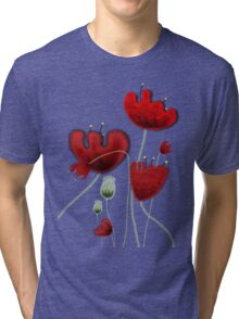 Poppy red granate sexy landscape summer france bloom garden t-shirt Tri-blend T-Shirt